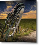Metal Monster Emerging From The Earth Metal Print