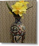Metal Vase With Flowers Metal Print