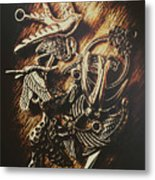 Metallic Birdlife Abstract Metal Print