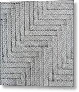 Metallic Grey Rope Weaved Pattern Metal Print
