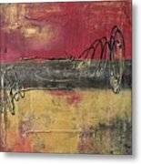 Metallic Square Series I - Red And Gold Urban Abstract Painting Metal Print