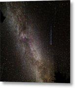 Meteor Burst Across The Milky Way Metal Print