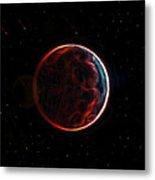 Meteor Shower Over Planet X Metal Print