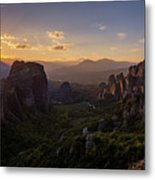 Meteora Sunset Metal Print