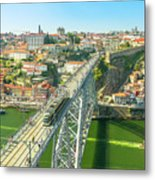 Metro Train Over Porto Bridge Metal Print