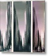 Metropolis Rush Hour Triptych Metal Print