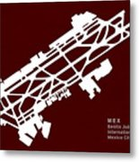 Mex Benito Juarez International Airport Silhouette In Red Metal Print