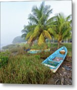 Mexican Boat In The Fog Metal Print
