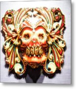 Mexican Day Of The Dead Mask Metal Print