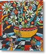 Mexican Vase With Spring Flowers Metal Print