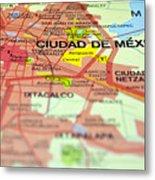 Mexico City Map. Metal Print