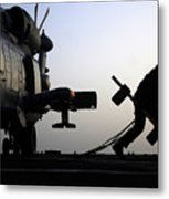 Mh-60r Sea Hawk Helicopter Is Ready For Duty Metal Print