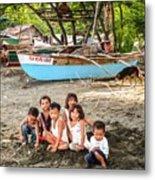Mia-gao Fishing Children 1 Metal Print