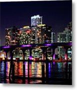 Miami At Night -3 Metal Print