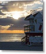 Miami Beach Life Guard House Sunrise 2 Metal Print
