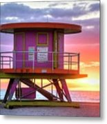 Miami Beach Round Life Guard House Sunrise Metal Print