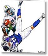 Miami Dolphins Vontae Davis And Minnesota Vikings Percy Harvin  Metal Print by Jack K