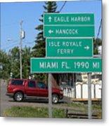 Miami Florida 1990 Miles Us41 Metal Print