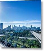 Miami Florida City Skyline And Streets Metal Print