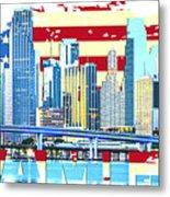 Miami Florida City Skyline Metal Print