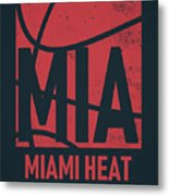Miami Heat City Poster Art Metal Print
