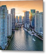 Miami River Fron The Drone Metal Print