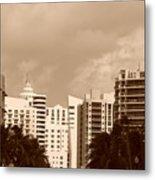Miami  Sepia Sky Metal Print