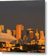 Miami Skyline At Sunset Metal Print