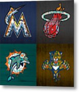 Miami Sports Fan Recycled Vintage Florida License Plate Art Marlins Heat Dolphins Panthers Metal Print
