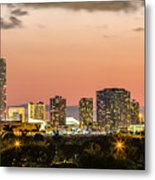 Miami Sunset Skyline Metal Print