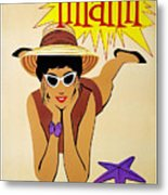 Miami Travel Poster Metal Print