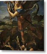 Michael Defeats Satan  Metal Print