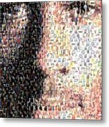Michael Jordan Face Mosaic Metal Print