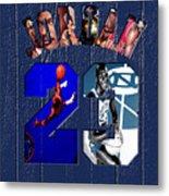 Michael Jordan Wood Art 2c Metal Print