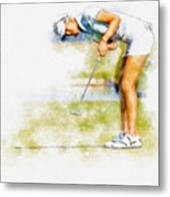Michelle Wie Of Usa Putting At The  Lpga Lotte Championship  Metal Print