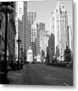 Michigan Ave Tall B-w Metal Print
