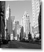 Michigan Ave Wide B-w Metal Print
