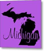 Michigan In Black Metal Print