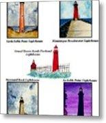 Michigan Lighthouses Montage Metal Print