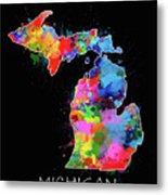 Michigan Map Color Splatter 2 Metal Print