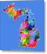 Michigan Map Color Splatter 3 Metal Print