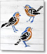 Michigan Robins State Bird Recycled Vintage License Plate Art On White Barn Wood Metal Print