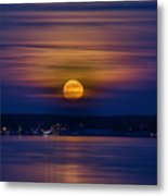 Michigan Super Moon Over Muskegon Lake Metal Print