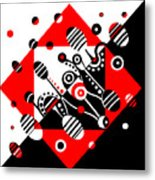Microgravity - Red And Black Metal Print