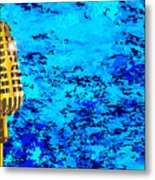 Microphone On Blues Fire Metal Print