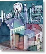 Midnight Colliery Original Watercolour Painting Metal Print