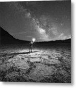 Midnight Explorer At Badwater Basin Bw Metal Print