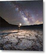 Midnight Explorer At Badwater Basin  Metal Print