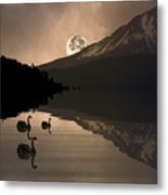 Midnight Moods Swan Lake In The Moonlight Metal Print