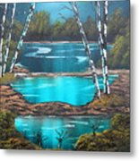 Midnight Ponds Metal Print